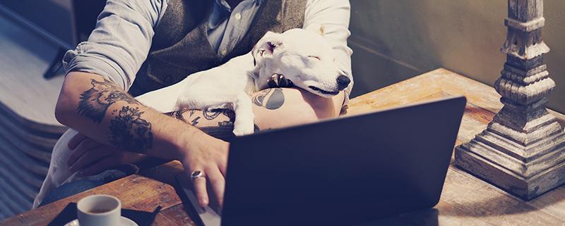 Man doet de belastingaangifte zelf op zijn laptop